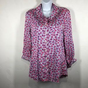 GAP fitted boyfriend floral blouse size small